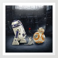 LOVE DROID & THE CAT Art Print