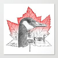 Canada Goose on Maple Leaf (with some red) Canvas Print
