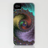 iPhone 4s & iPhone 4 Cases featuring Fractal Spiral by Harvey Warwick