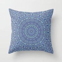Shades of blue mandala Throw Pillow