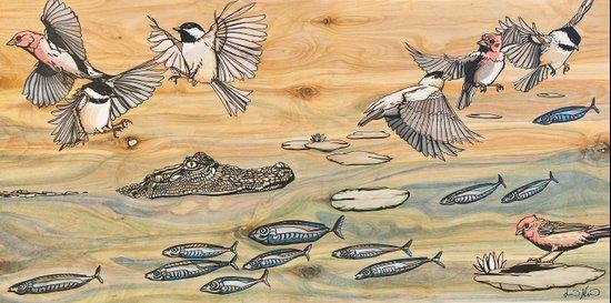 Swamp Life: Alligator and Chickadees Art Print