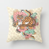 Throw Pillow featuring Frolic! by Creative Cat's Studio - Tricia W. Beal