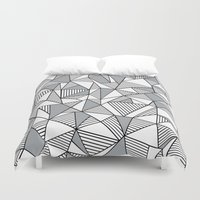 Abstract Lines With Grey… Duvet Cover