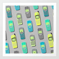 Vintage Cellphone Patter… Art Print