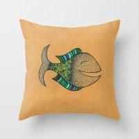 happy fish #4 Throw Pillow