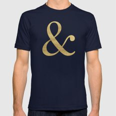 Gold Glitter Ampersand Mens Fitted Tee Navy SMALL