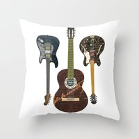 Guitar Collage Throw Pillow