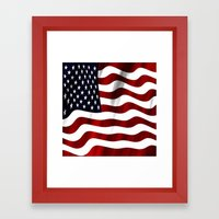 Wavy American Flag Framed Art Print