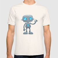 Waving Robot Mens Fitted Tee Natural SMALL