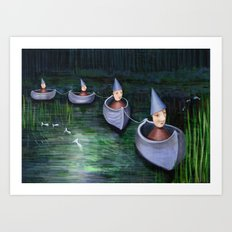 Drifting Down Stream Art Print