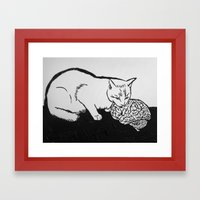Cat eating Brain Framed Art Print
