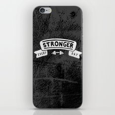 Stronger Every Day (dumbbell, black & white) iPhone & iPod Skin