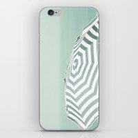 Parasol - Summer Beach Blue Stripes Photography iPhone & iPod Skin