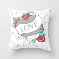Heart Tattoo pattern Throw Pillow