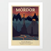 Retro Travel Poster Series - The Lord of the Rings - Mordor Art Print
