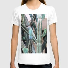 Cacti Womens Fitted Tee White SMALL