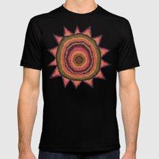 Autumn SunFlower Mandala SMALL Black Mens Fitted Tee