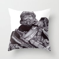 Master Chief Pen Drawing Throw Pillow