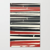 Navy Red Stripes Canvas Print