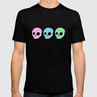 pastel skull Mens Fitted Tee Black SMALL