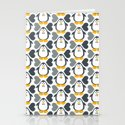 NGWINI - penguin love pattern 4 Stationery Cards