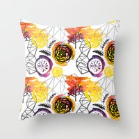 Watercolor Geo Floral Throw Pillow