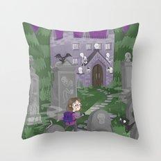 Exploring the Graveyard Throw Pillow