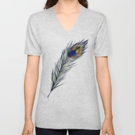 Unisex V-Neck featuring The Peacock's Feather by ECMazur