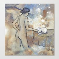 Woman And Cat Canvas Print