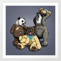 Three Angry Bears Art Print