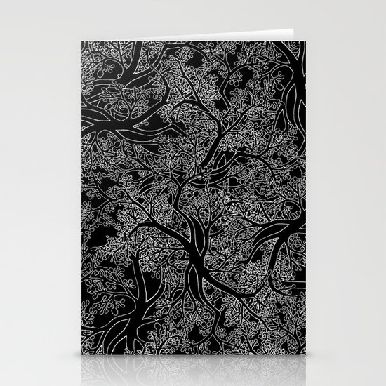 Tree Repeat Black Stationery Card