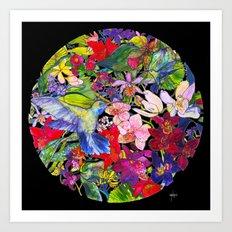 Hummingbirds Black Art Print