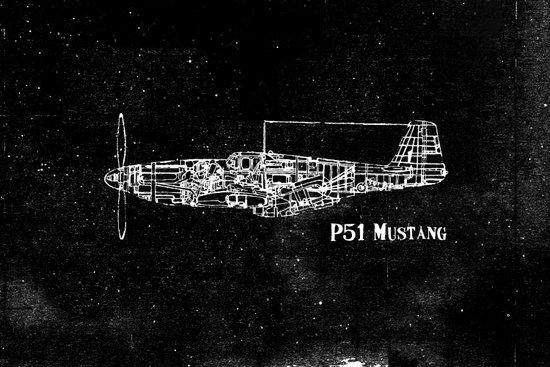 North American P51 Mustang (White) Art Print