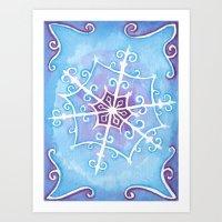 Watercolor Snowflake Art Print