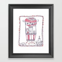 Two Owls In A Hot-air Ba… Framed Art Print