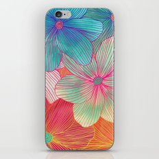 Between the Lines - tropical flowers in pink, orange, blue & mint iPhone & iPod Skin
