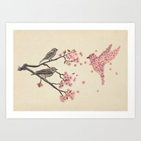 floral Art Prints featuring Blossom Bird  by Terry Fan