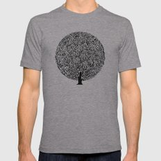 Black and White Tree Mens Fitted Tee Athletic Grey SMALL