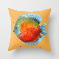DISCUS FISH, Discus cushion, tropical fish, aquarium, ocean, nautical art, fish painting Throw Pillow