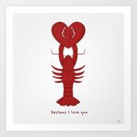 Loving Lobster Art Print