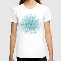 Peppermint Snowflake on Cream Womens Fitted Tee White SMALL