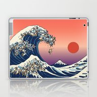 Laptop & iPad Skin featuring The Great Wave Of Pug   by Huebucket