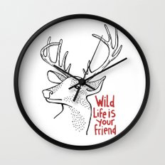 Wildlife is Your Friend Wall Clock