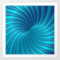 Blue Spiral Vortex G213 Art Print