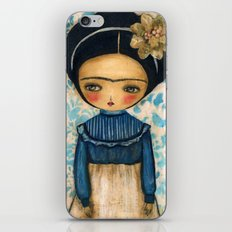 Frida In A Blue And Cream Dress iPhone & iPod Skin