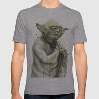 Yoda Portrait Mens Fitted Tee Athletic Grey SMALL