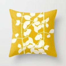 white branch on golden tone Throw Pillow