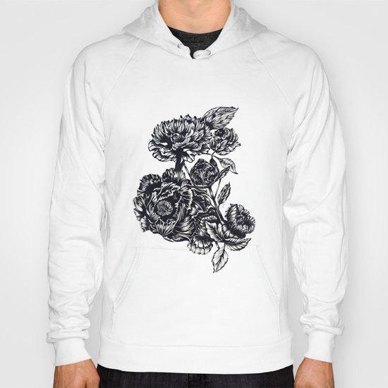 Peonies, black & white  Hoody