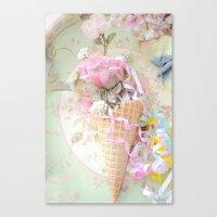 Cottage Roses Ice Cream Waffle Cone Decor Canvas Print