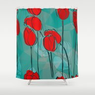 Shower Curtain featuring Abstract Tulips by Klara Acel